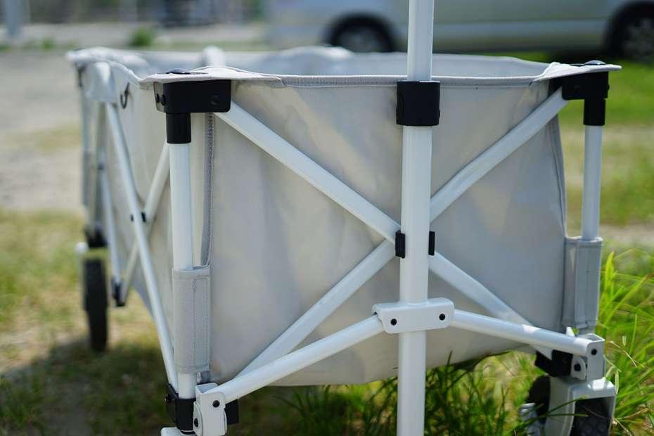 コールマンアウトドアワゴン ライトグレー 海 砂浜 アウトドアワゴン 子供 ベビーベッド テーブル コスパ 限定色 底板 補強